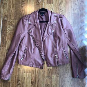 Blush Pink Faux Leather Jacket